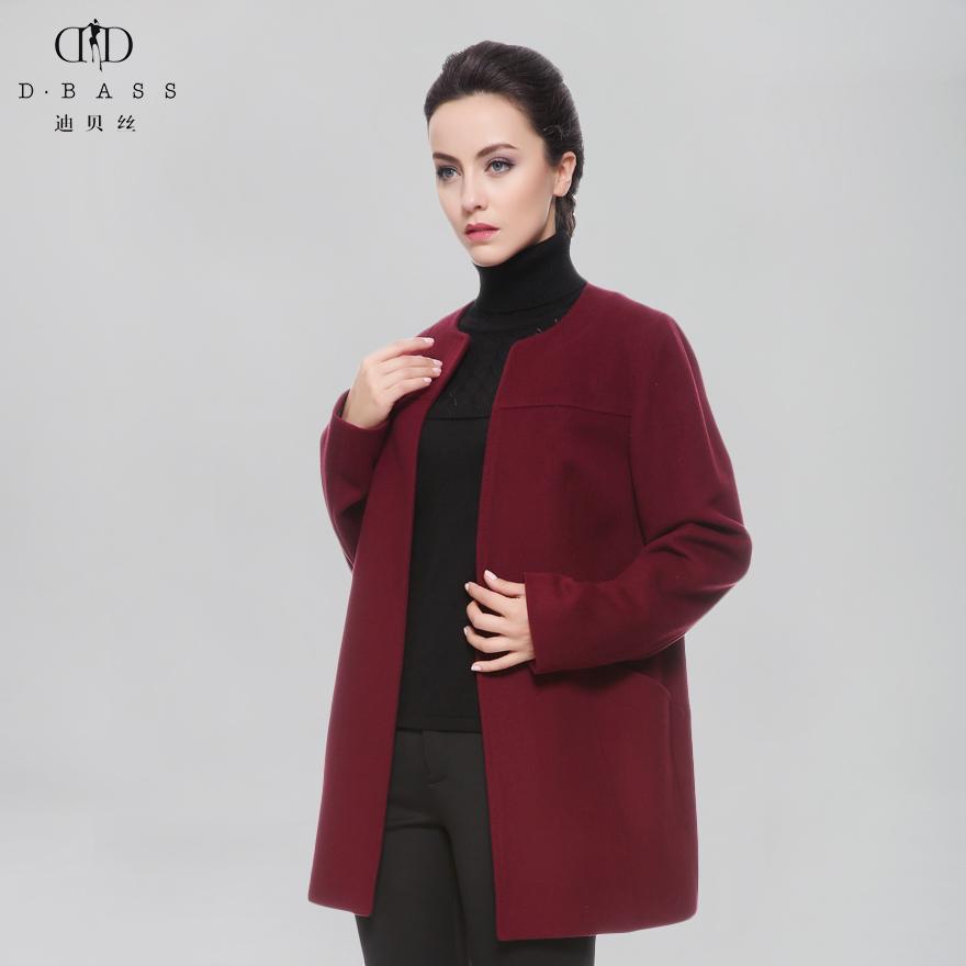 迪贝丝秋冬新款中长款纯羊毛圆领大衣修身毛呢外套Y01262G