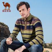 骆驼男装毛衣 秋冬季欧美简约条纹加厚长袖休闲毛线衣男