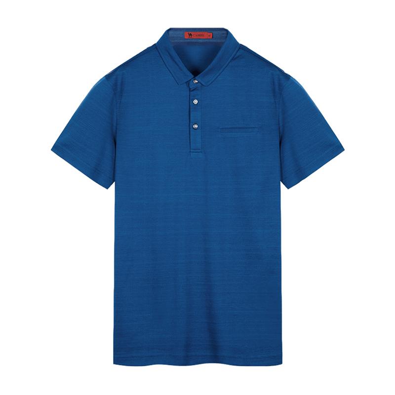 骆驼男装 2018夏季新款商务桑蚕丝t恤纯色衬衫领短袖Polo休闲潮