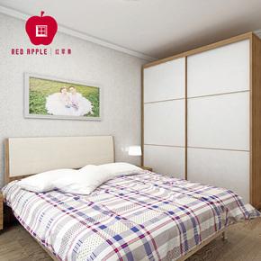 红苹果家具 卧室四件套组合W3 1.8米双人床+床头柜*2+推拉门衣柜