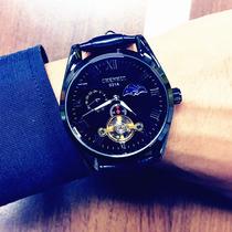 全自动机械表男士商务时装土豪金夜光防水日历镂空真皮精钢带手表