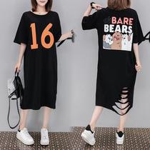 2019年新款夏季显瘦胖妹妹时尚连衣裙大码女装20-24-25到30岁韩版