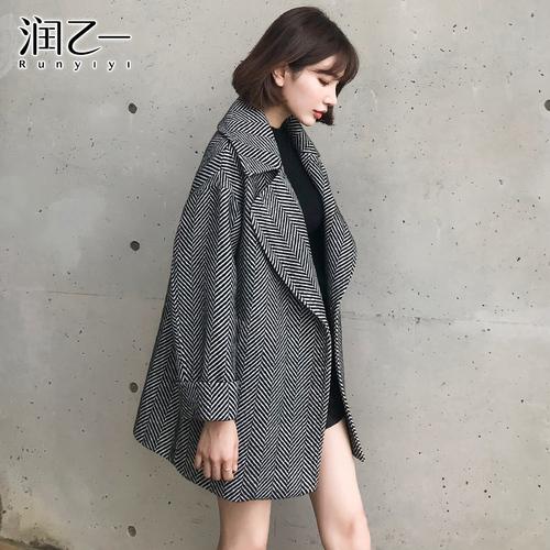 润乙一 格纹毛呢外套女 双面呢2018秋冬装新款韩版呢子大衣中长款