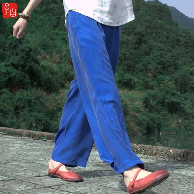 夏装女2019新款重磅铜氨丝女裤宽松大码显瘦直筒裤休闲长裤阔腿裤