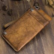纯手工牛皮长款钱包复古做旧多卡包男士手包真皮大容量拉链手机包