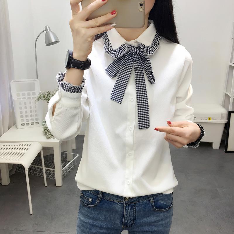 小女孩衬衣长袖白色