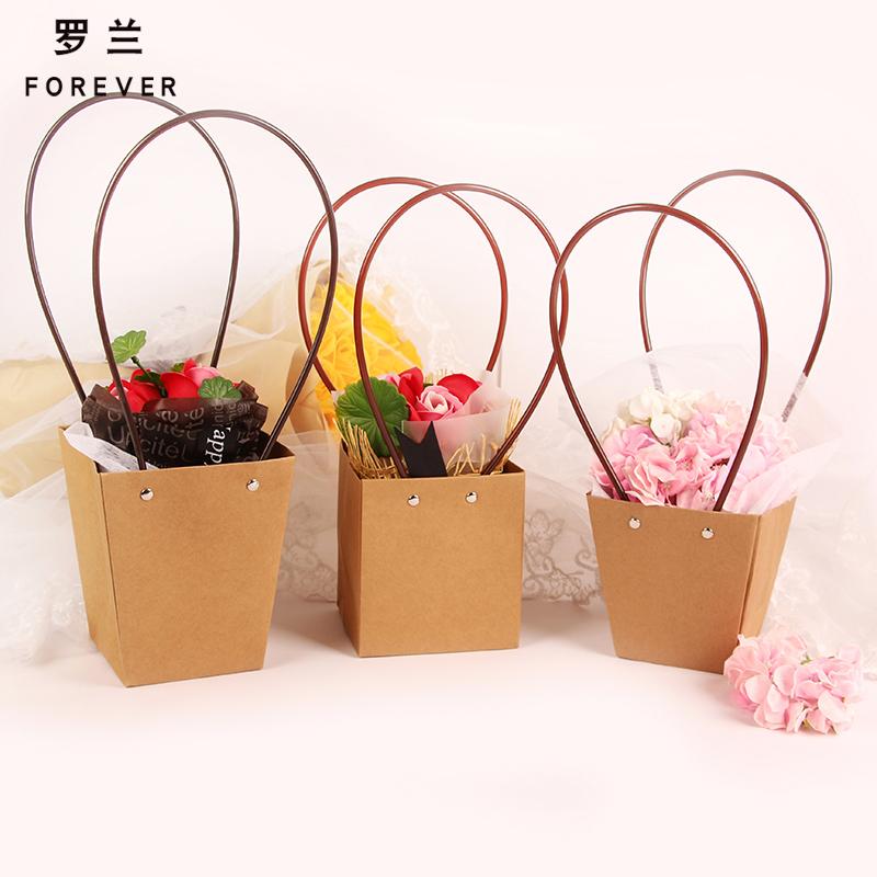 罗兰 鲜花包装盒 防水牛皮纸手提袋花店花束花艺包装材料盒包装纸