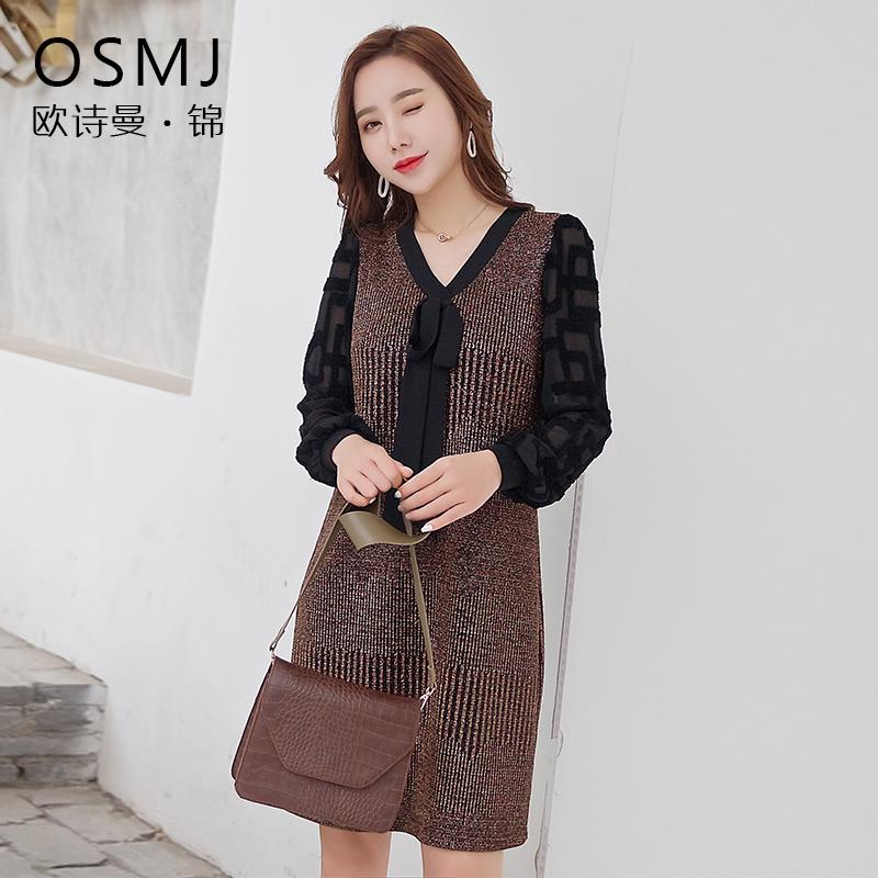 2019春款女装时尚亮丝拼接修身气质显瘦减龄洋气连衣裙J19AL1816