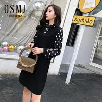 春秋款裙子2018新款韩版女装chic拼接假两件波点连衣裙J18AL1353