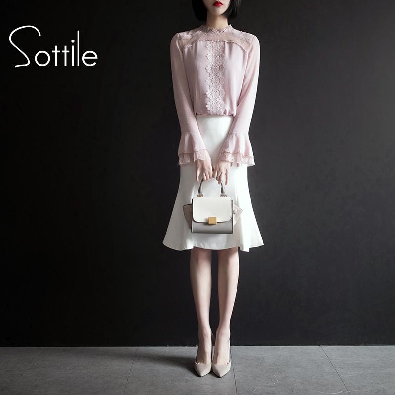 春装2019新款女装套装蕾丝打底衫时尚雪纺鱼尾半身裙气质两件套潮