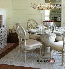 法式美式实木复古做旧餐桌椅别墅奢华实木雕花餐桌椅