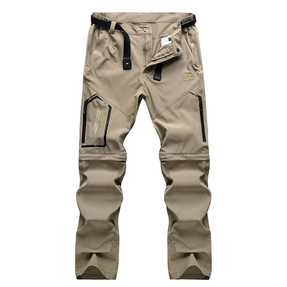 正品户外速干裤男夏季薄款可拆卸两截运动弹力透气大码冲锋裤长裤