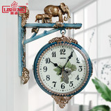 Lisheng European-style atmospheric double-sided wall clock living room silent quartz clock creative home hangwatch fashion personality clock