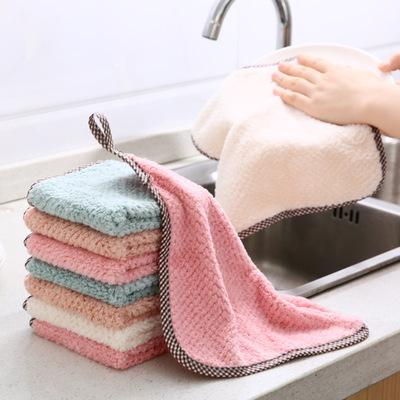 厨房擦手巾家用吸水不易掉毛加厚抹布洗手小毛巾搽手巾挂式擦手帕