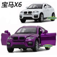 正品限时抢购宝马X6儿童玩具合金模型越野车SUV回力灯亮声响门开