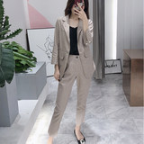 2019 summer new suit fashion suit cotton and linen small suit was thin nine pants women's two-piece female tide