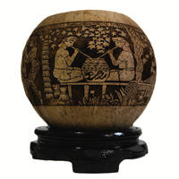Home Decoration Hainan Lizu Coconut Carving Li Family Style Storage Tank Coconut Shell Coconut Shell Decoration Crafts