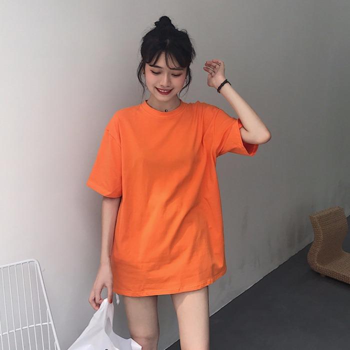 2019款初春女装ins韩版宽松纯色简约上衣百搭显瘦中长款短袖t恤女