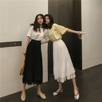 Very immortal French niche skirt female summer new Korean version of the high waist was thin wild long paragraph a word skirt tide