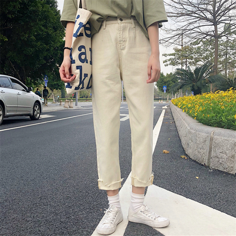 韩国牛仔阔裤女