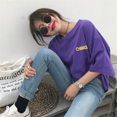 春夏装2018新款女装韩版宽松百搭字母印花t恤女短袖chic上衣学生