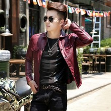 Men's locomotive leather jacket in autumn and winter
