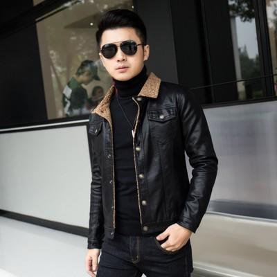 冬季新款男式潮流加绒皮外套韩版修身短款加厚皮衣青年男士皮夹克