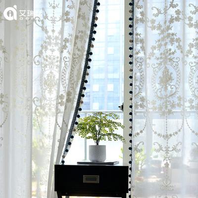 欧式刺绣白纱窗帘珍珠纱高档蕾丝绣花窗纱纯色客厅飘窗纱帘阳台纱哪个品牌好