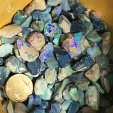 Australia's natural black opal rough, selected with colored highlights