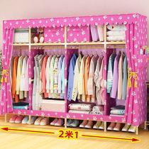 简易布衣柜实木布艺简约现代经济型组装双人大人收纳宿舍大号衣橱
