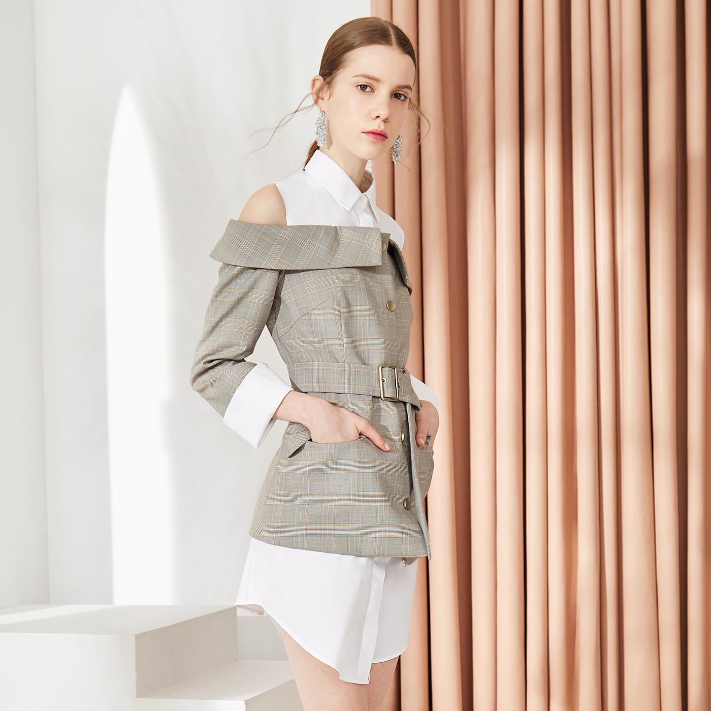 糖力2018秋装新款假两件一字领露肩衬衫裙子修身收腰格子连衣裙女