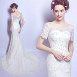 天使的嫁衣 优雅蕾丝一字肩小拖尾新娘婚纱礼服2018新款6161