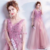 天使嫁衣 梦幻气质粉色新娘结婚敬酒服宴会年会婚纱晚礼服批发192