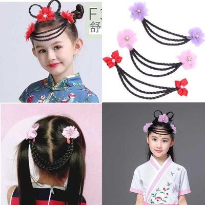 六一儿童公主链假发麻花辫子花朵顶夹额头链宝宝表演活动套装发饰