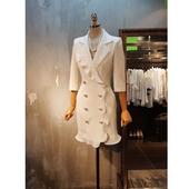 外套女显瘦 修身 新款 显瘦荷叶边双排扣女士休闲小西装 韩版 2019春装