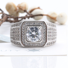 Two-carat men's big ring with simulated diamonds and successful men's wide-edition Sterling Silver Diamond Ring