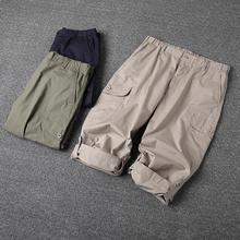 夏天工装裤子薄款宽松短裤男式多口袋中裤户外休闲运动七分裤E14