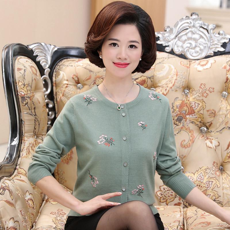 中老年女装春装新款针织衫开衫中年妈妈装羊毛衫外套宽松薄款上衣