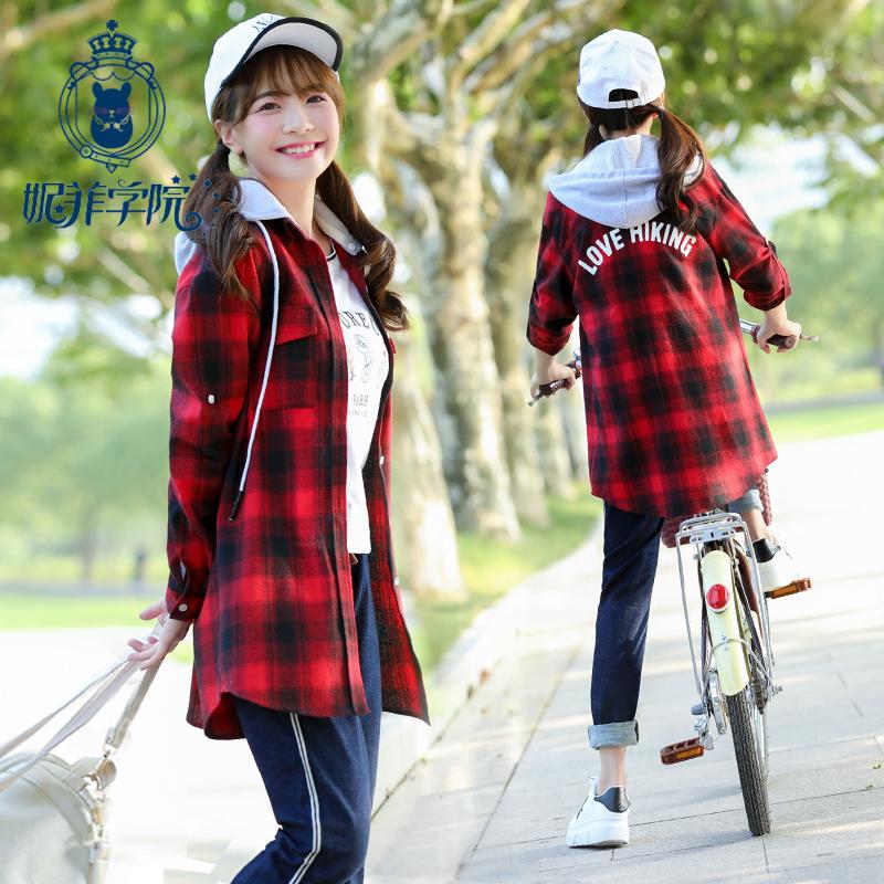 少女格子衬衫女中学生韩版