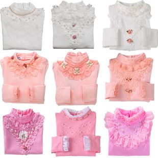 女童上衣长袖2017春秋冬季新款韩版潮加绒加厚保暖儿童高领打底衫