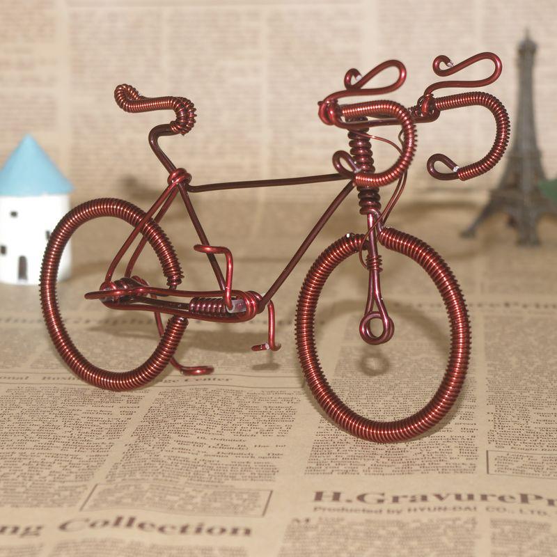 【细轮大铜车】漆包线单车手工铜丝自行车模型特色家居旅游纪念品