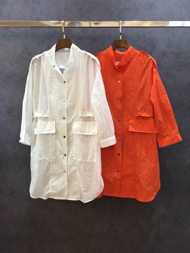 欧美2018夏季女装纯色宽松双口袋收腰系带小立领防晒服外套中长款