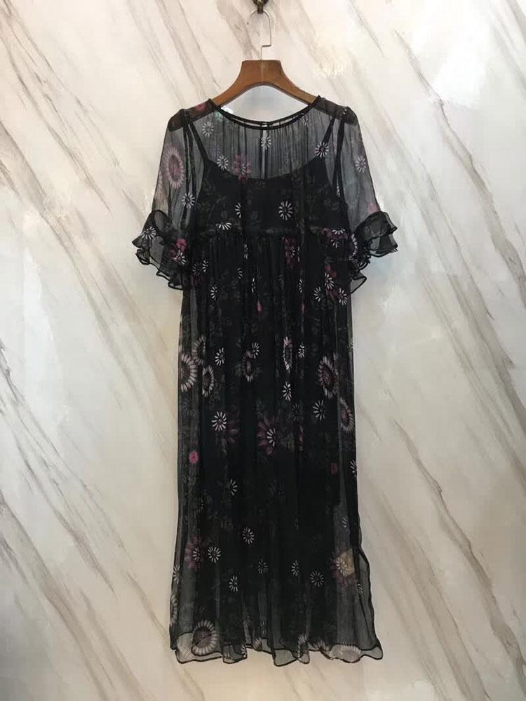 性感丝质短袖裙