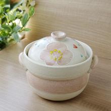 日本制万古烧粗陶山茶花单/双盖土砂锅炖焖煮汤锅多尺寸