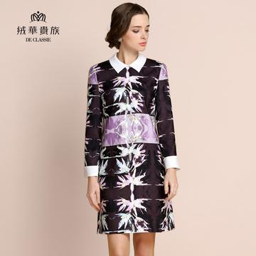绒华贵族新款优雅显瘦A型复古娃娃领时尚印花撞色连衣裙长裙