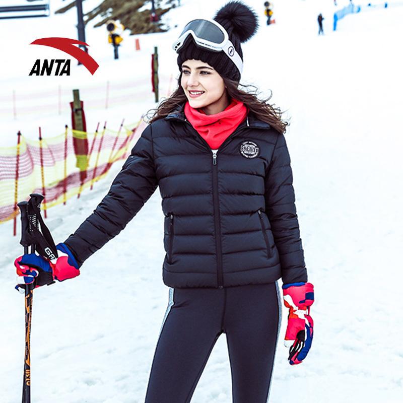 安踏羽绒服女外套2018冬款防风保暖修身连帽运动服女子夹克外套