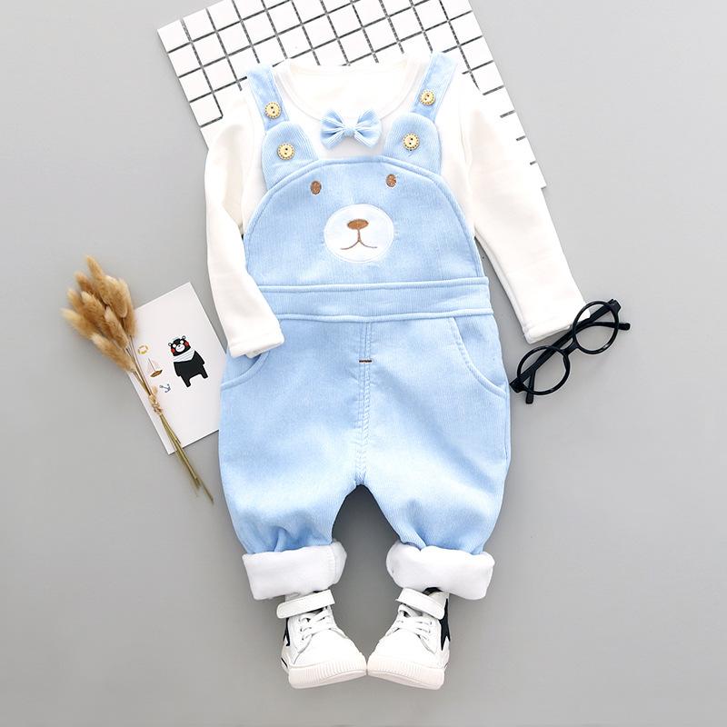 宝宝加绒套装女0一1岁 新生儿加厚保暖背带裤两件套 婴儿衣服冬季