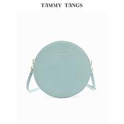 糖力2018夏季新款浅蓝色欧美时尚休闲女包单肩斜跨包气质小圆包