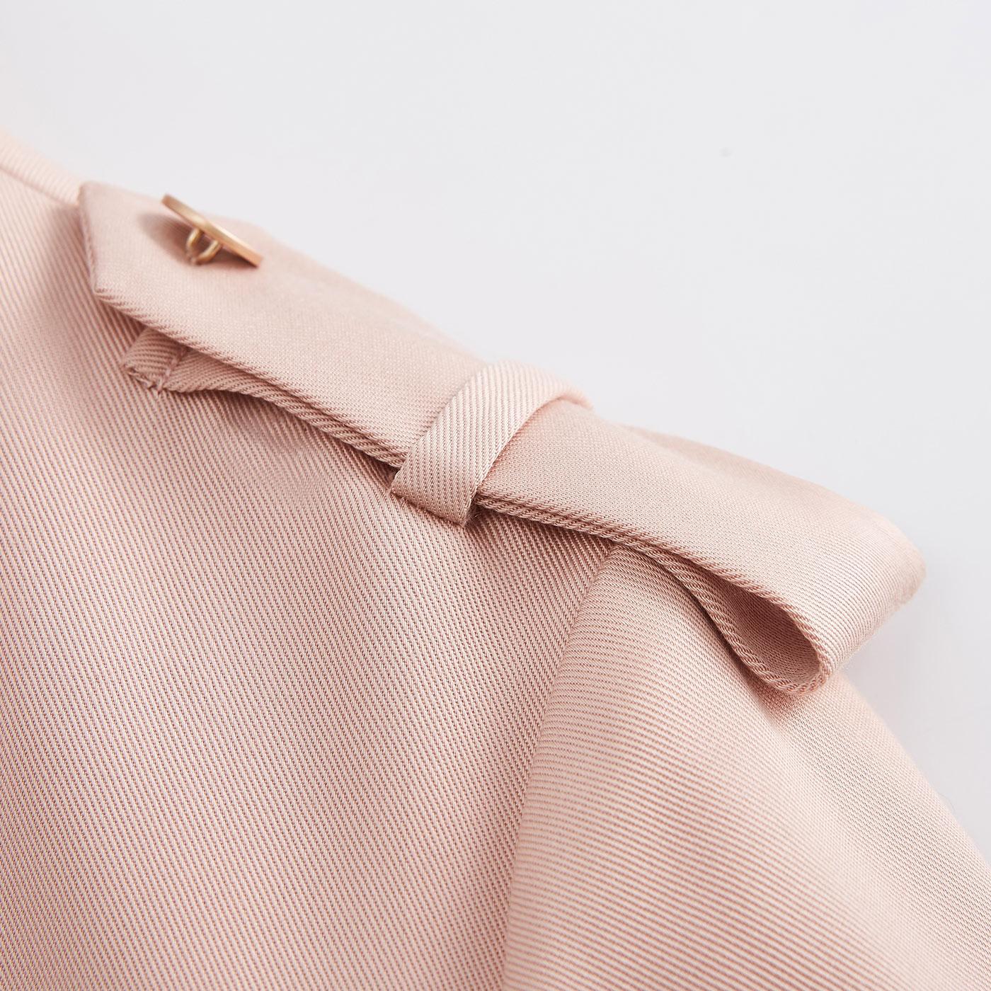 糖力2018春装新款欧美女装粉红色长袖翻领中长款宽松休闲风衣外套