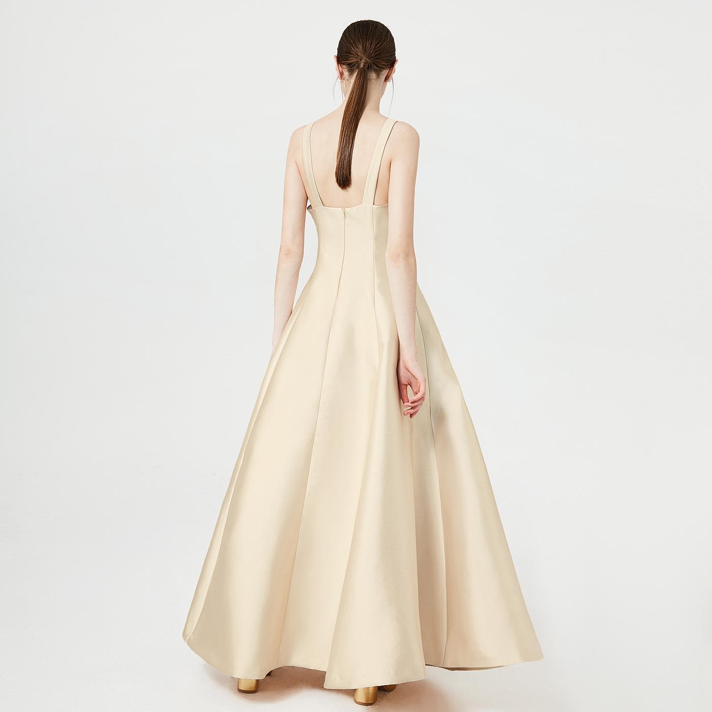 糖力 春装新款端庄大气优雅性感深V礼服连衣裙长裙女